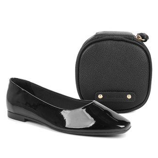 Kit Shoestock Sapatilha Bico Quadrado Verniz + Necessaire Joias