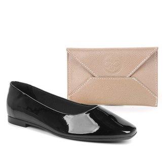 Kit Shoestock Sapatilha Bico Quadrado Verniz + Porta Cartão Couro Mini