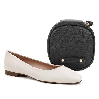 Kit Shoestock Sapatilha Couro Comfy Bico Quadrado + Necessaire Joias