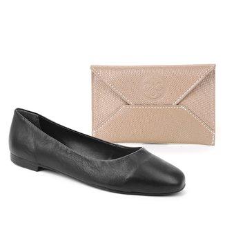 Kit Shoestock Sapatilha Couro Comfy Bico Quadrado + Porta Cartão Couro Mini