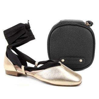 Kit Shoestock Sapatilha Couro Lace Up + Necessaire Joias