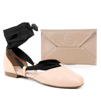 Kit Shoestock Sapatilha Couro Lace Up + Porta Cartão Couro Mini