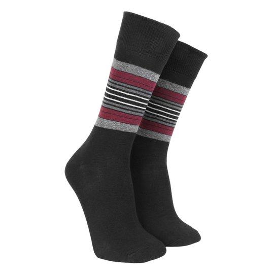 Meia Social Shoestock Sportwear Listras Masculina - Preto