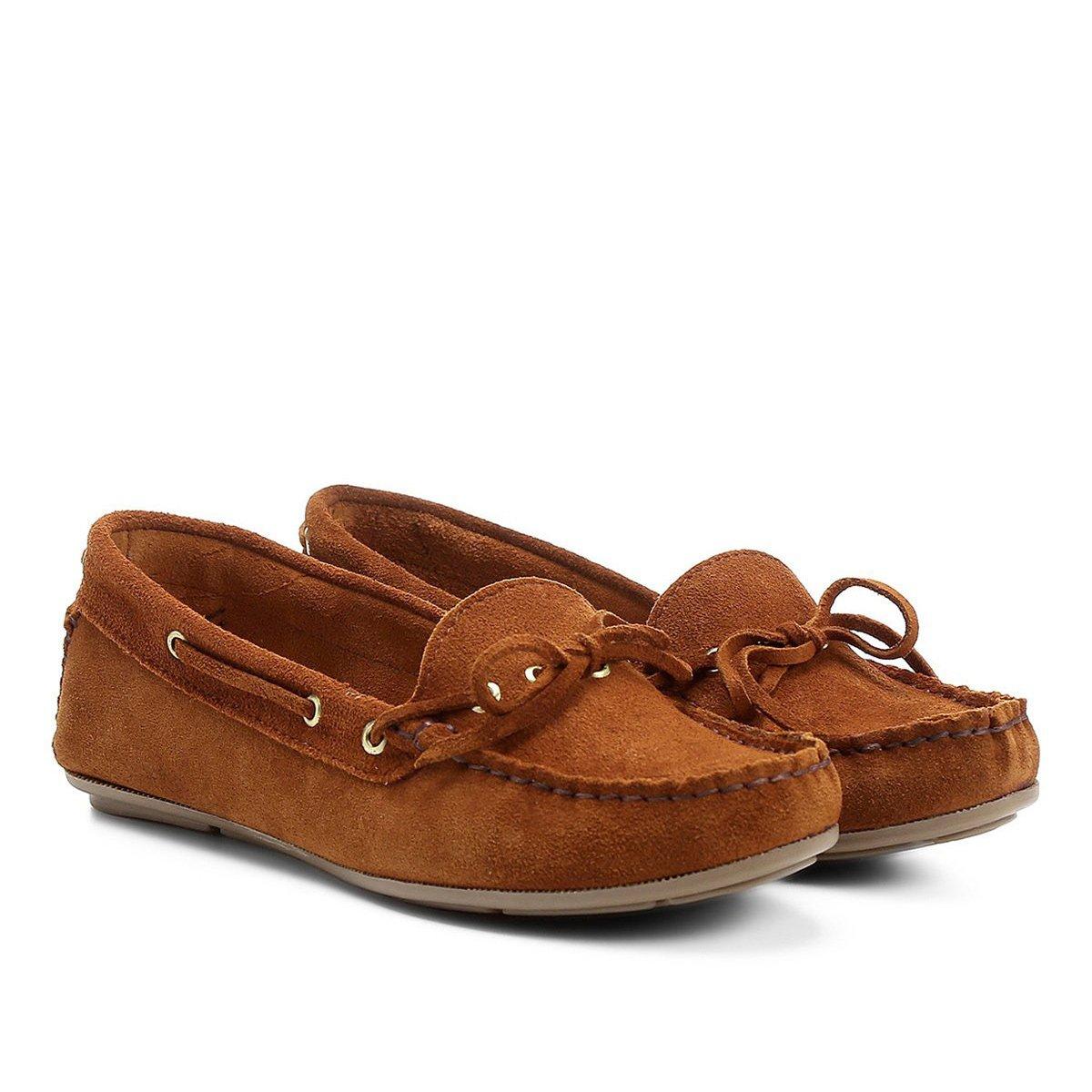 f793034a4b Mocassim Couro Shoestock Amarração Feminino