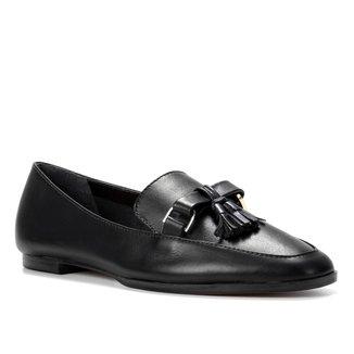 Mocassim Couro Shoestock Bico Quadrado Tassel Feminino