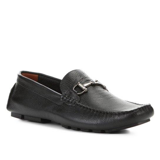 Mocassim Couro Shoestock Bridão Masculino - Preto