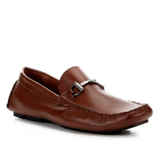 Mocassim Couro Shoestock Bridão Masculino - Caramelo