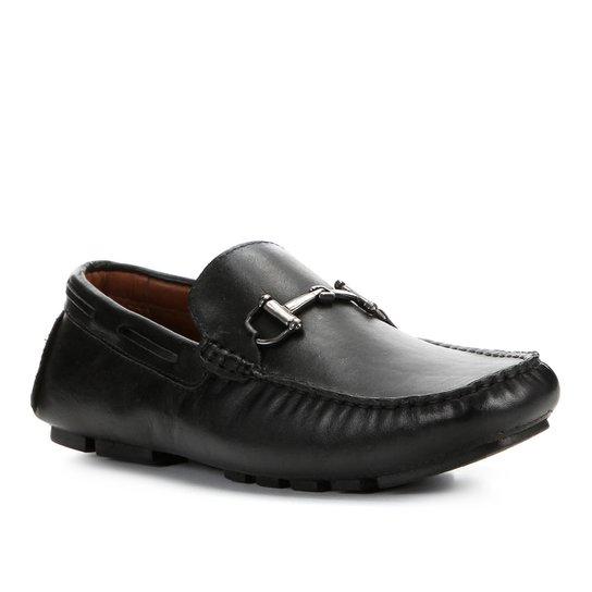Mocassim Couro Shoestock Bridrão Masculino - Preto