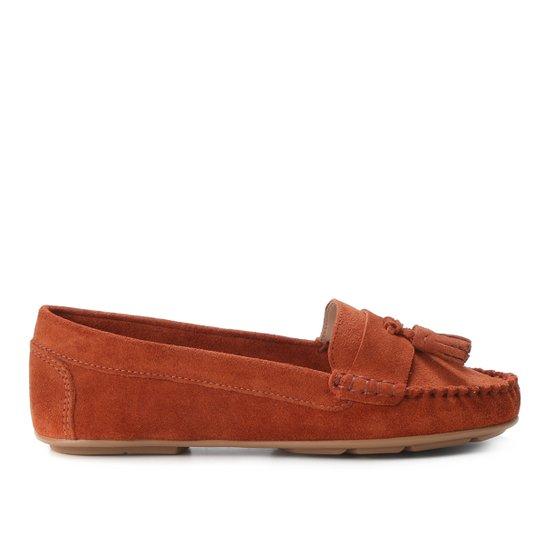 Mocassim Couro Shoestock Camurça Color Tassel Feminino - Caramelo