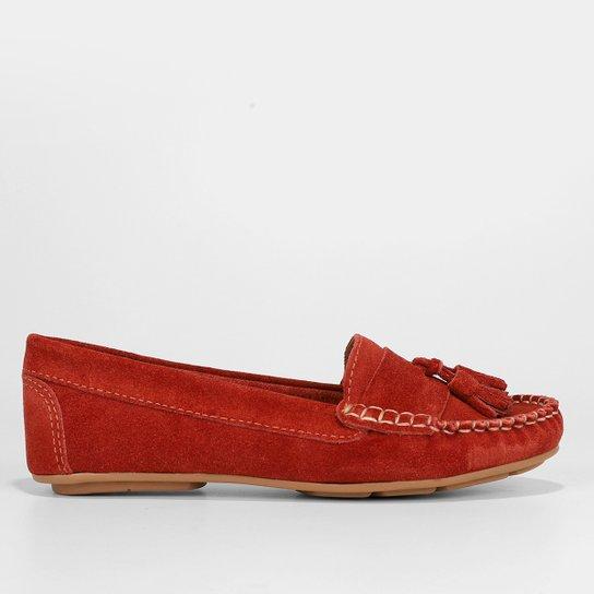 Mocassim Couro Shoestock Camurça Color Tassel Feminino - Amarelo