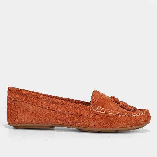 Mocassim Couro Shoestock Camurça Color Tassel Feminino - Vinho