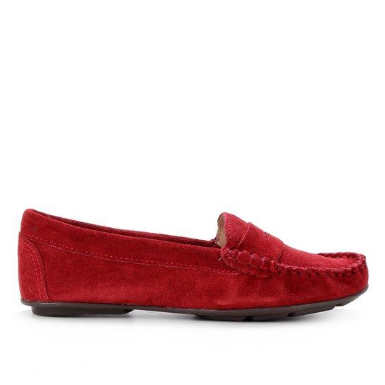 Mocassim Couro Shoestock Camurça Gravata Feminino - Vinho