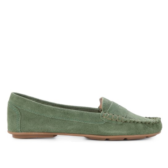 Mocassim Couro Shoestock Camurça Gravata Feminino - Verde