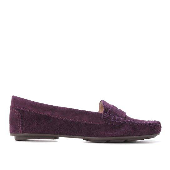 Mocassim Couro Shoestock Camurça Gravata Feminino - Roxo