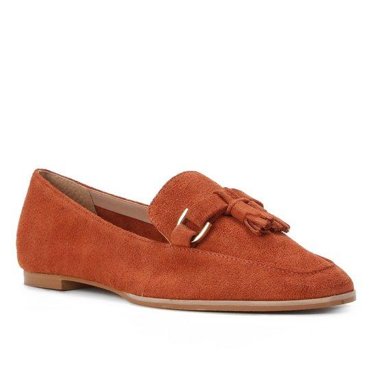 Mocassim Couro Shoestock Camurça Tassel Feminino - Caramelo