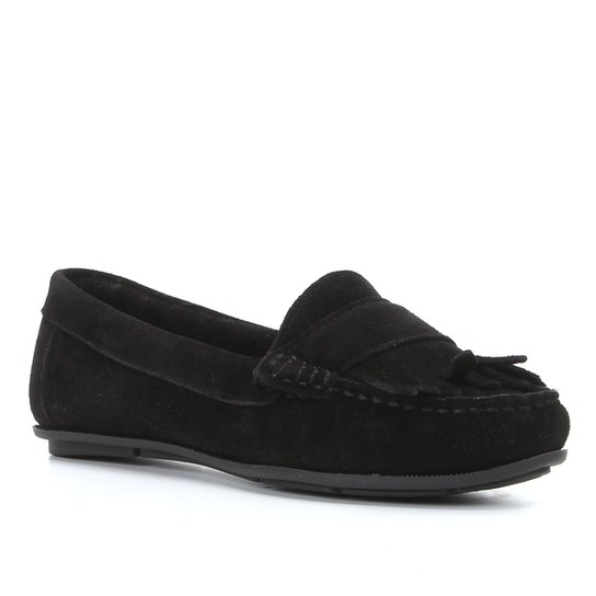 Mocassim Couro Shoestock Camurção Franjas Feminino - Preto