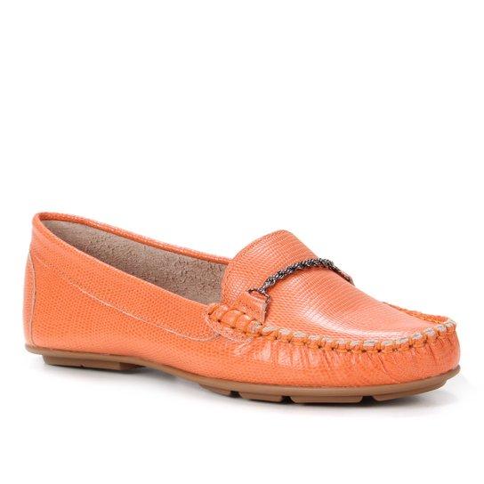 Mocassim Couro Shoestock Comfy Corrente Feminino - Laranja