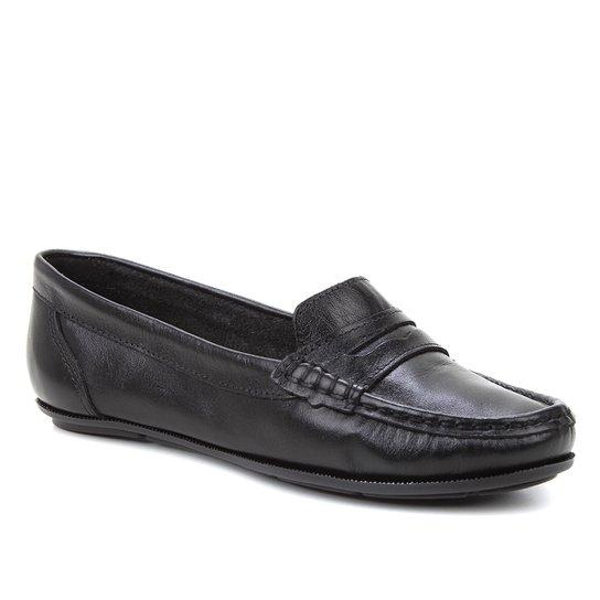 Mocassim Couro Shoestock Comfy Feminino - Preto