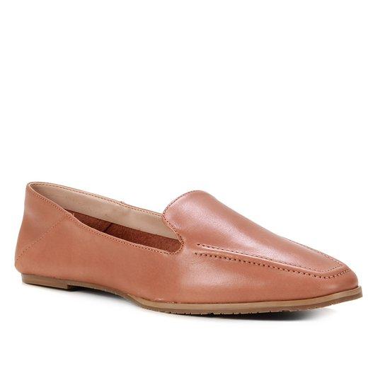 Mocassim Couro Shoestock Comfy Feminino - Caramelo
