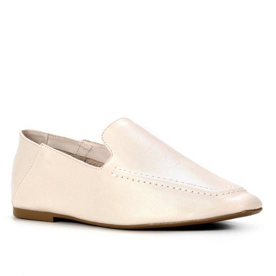 Mocassim Couro Shoestock Comfy Liso Feminino - Off White
