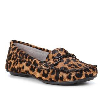 Mocassim Couro Shoestock Comfy Onça Feminino