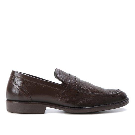 Mocassim Couro Shoestock Confort Gravata Masculino - Café