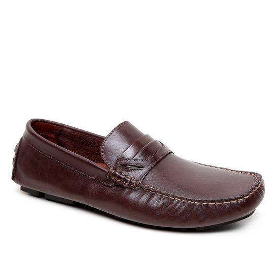 Mocassim Couro Shoestock Detalhe Gravata Masculino - Café