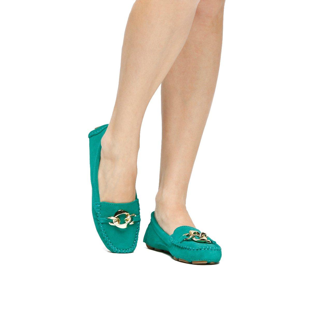 66ea9749b7 Mocassim Couro Shoestock Drive Corrente Feminino - Verde - Compre Agora