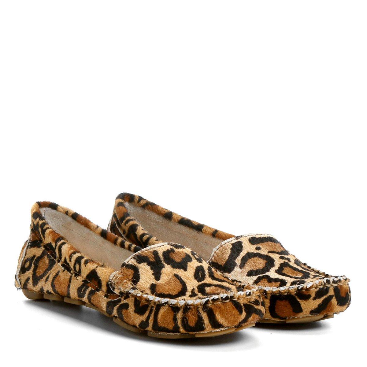 64e06d5f4 Mocassim Couro Shoestock Drive Liso Onça Feminino | Shoestock