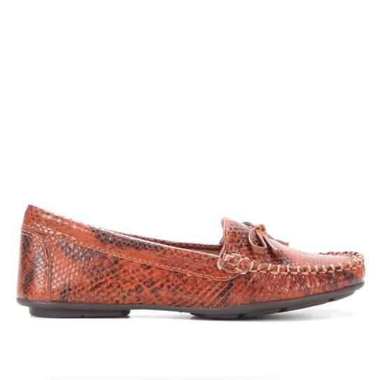 Mocassim Couro Shoestock Ester Cobra Feeling Feminino - Caramelo