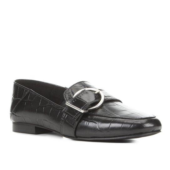Mocassim Couro Shoestock Fivela Croco Fivela Feminino - Preto
