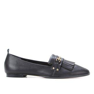 Mocassim Couro Shoestock Flat Franjas Feminino