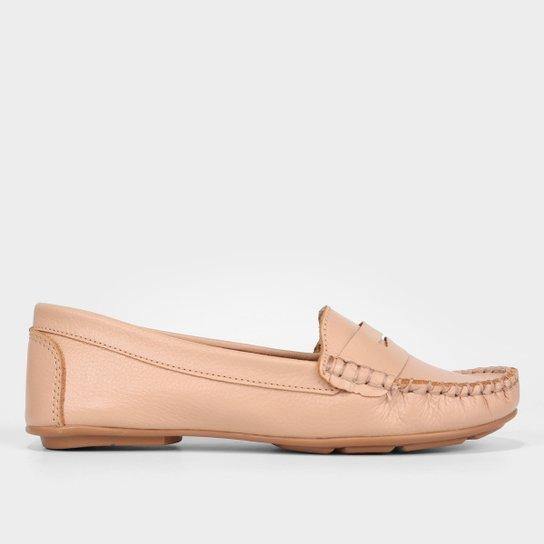Mocassim Couro Shoestock Floater Gravata Feminino - Nude