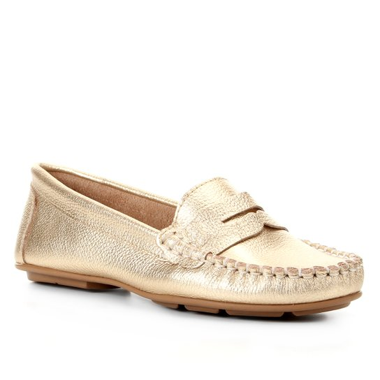 Mocassim Couro Shoestock Floater Gravata Feminino - Ouro