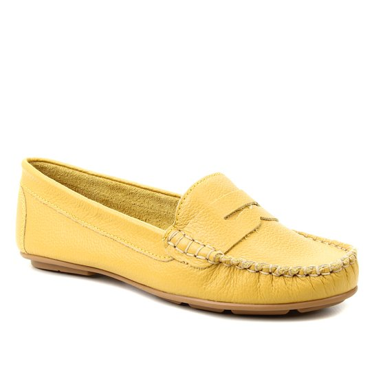 Mocassim Couro Shoestock Floater Gravata Feminino - Amarelo