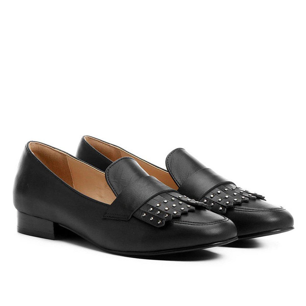 c29536aa1c Mocassim Couro Shoestock Franja Apliques Feminina - Preto