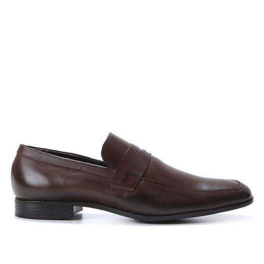 Mocassim Couro Shoestock Gravata Masculino - Café
