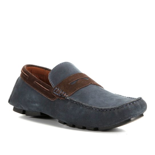 Mocassim Couro Shoestock Gravata Masculino - Azul