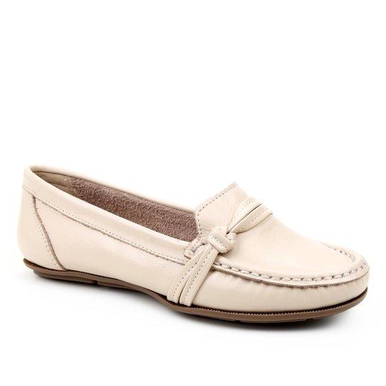 Mocassim Couro Shoestock Gravata Nó Feminino - Off White
