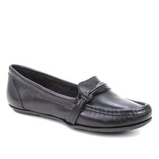 Mocassim Couro Shoestock Gravata Nó Feminino