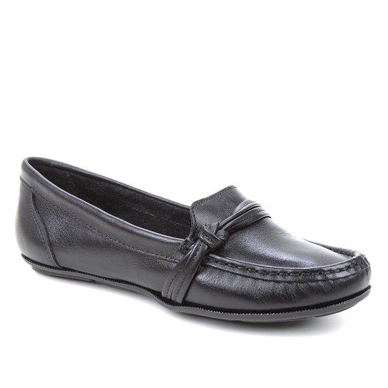 Mocassim Couro Shoestock Gravata Nó Feminino - Preto
