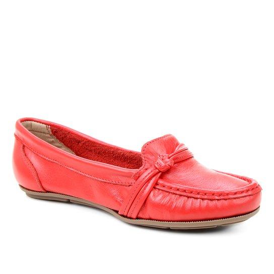 Mocassim Couro Shoestock Gravata Nó Feminino - Vermelho