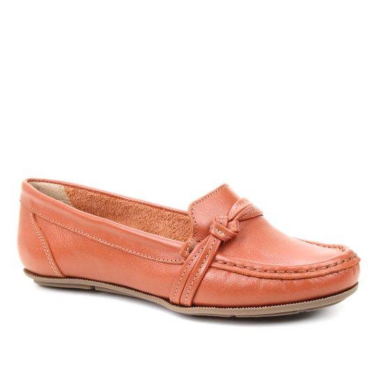 Mocassim Couro Shoestock Gravata Nó Feminino - Marrom