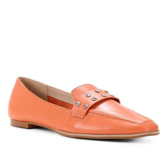 Mocassim Couro Shoestock Gravata Strass Feminino - Laranja
