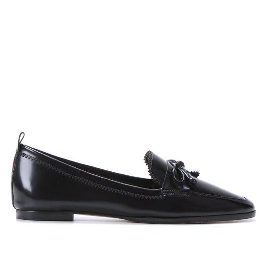 Mocassim Couro Shoestock Laço Feminino - Preto