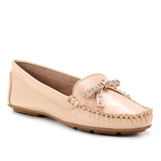 Mocassim Couro Shoestock Laço Strass Feminino - Nude