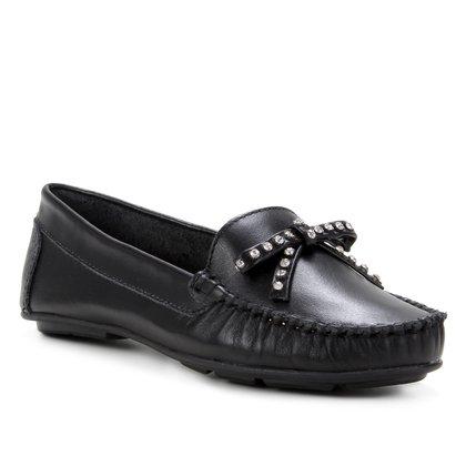 Mocassim Couro Shoestock Laço Strass Feminino