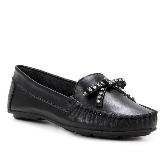 Mocassim Couro Shoestock Laço Strass Feminino - Preto