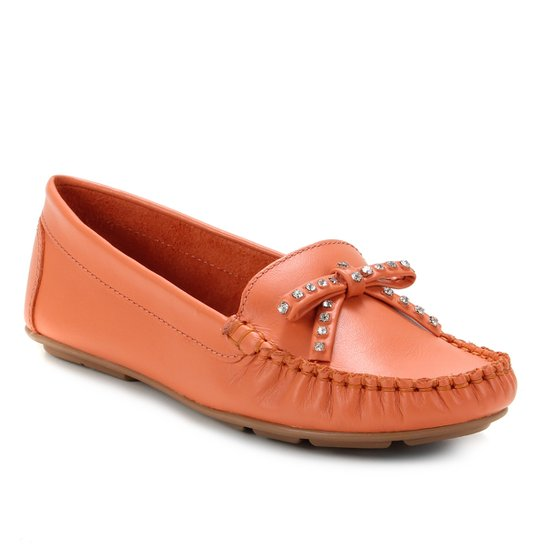 Mocassim Couro Shoestock Laço Strass Feminino - Laranja