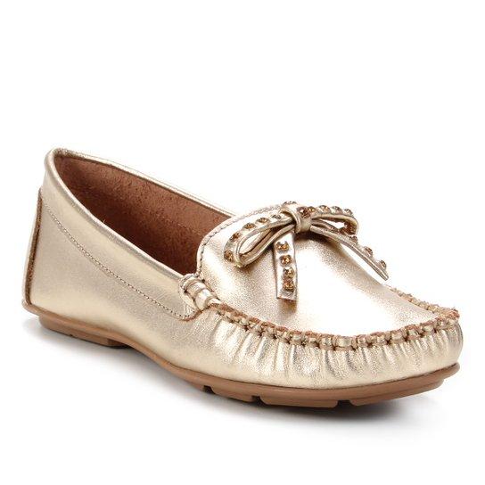 Mocassim Couro Shoestock Laço Strass Feminino - Dourado